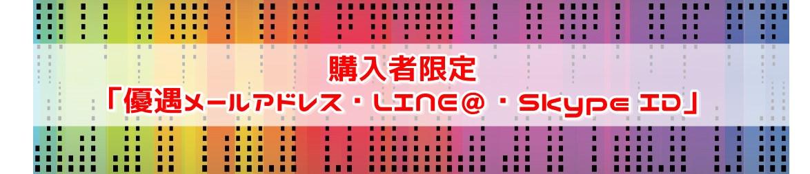 No.9 「購入者優遇メールアドレス・LINE@・Skype ID(無期限サポート)」