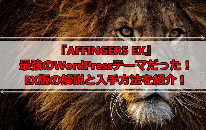 AFFINGER5 EXは最強のWordPressテーマだった!WINGとの違いと気になる追加機能とは