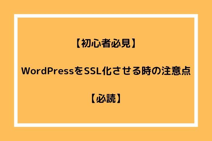 【初心者必見】WordPressをSSL化の注意点【必読】
