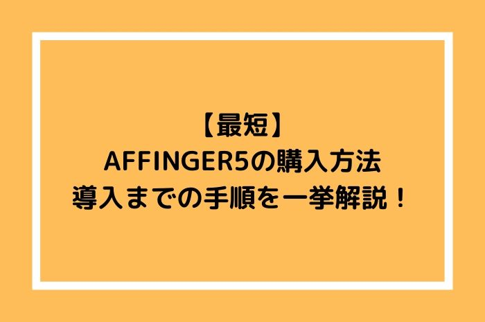 【最短】AFFINGER5の購入方法|導入までの手順を一挙解説!