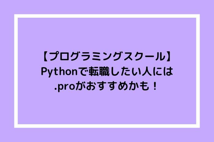 【プログラミングスクール】Pythonで転職したい人には.proがおすすめかも!